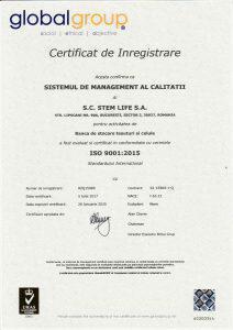 Certificat pentru Sistem de Management al Calitatii SR EN ISO 9001:2015